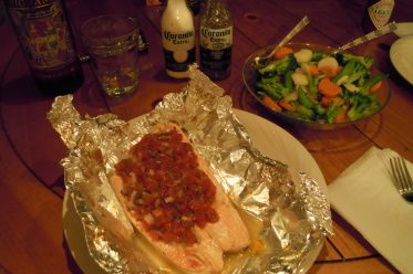Baked Salmon in Foil w/Steamed Veggies